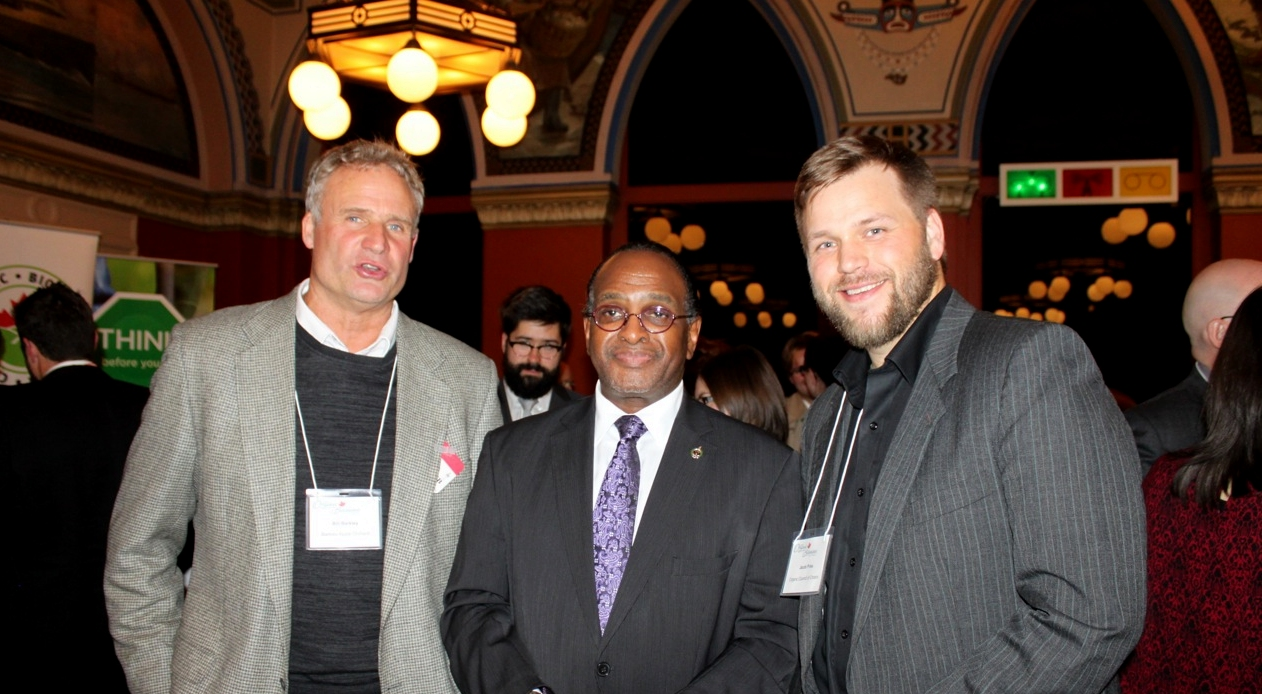 Organic Producer Bill Barkley with MP Tyrone Benskin and OCO Staff Jacob Pries
