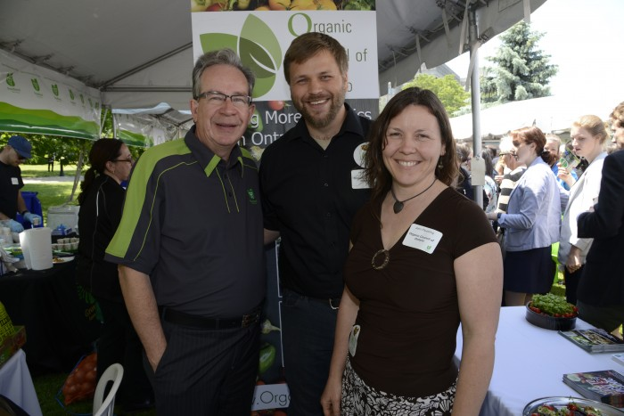 Jeff Leal, Minister of Agriculture, Food, and Rural Affairs with OCO Executive Director Jacob Pries and OCO President Jennifer Pfenning