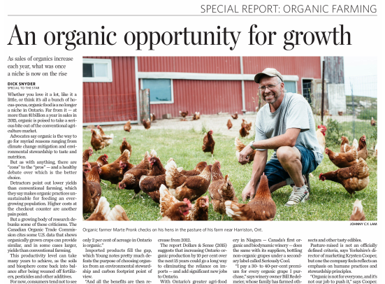 Toronto Star Features the Growing Market for Organics