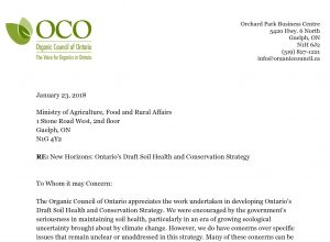 OCO responds to Ontario's Draft Soil Health and Conservation Strategy
