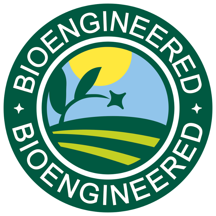 Bioengineered label features a sun and field graphic