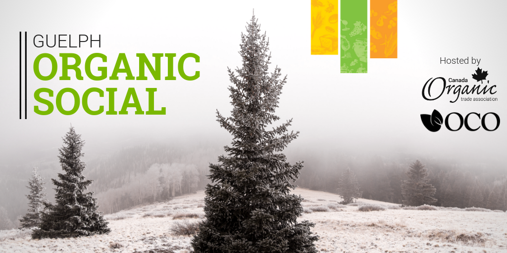 Guelph Organic Social banner with winter scene