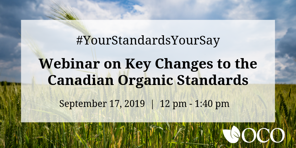 Webinar on Key Changes to the Canadian Organic Standards